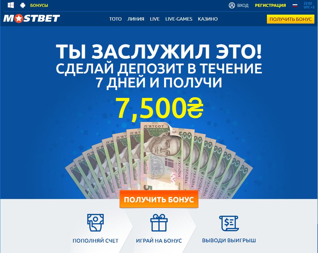 Акции и бонусы в букмекерской конторе Мостбет